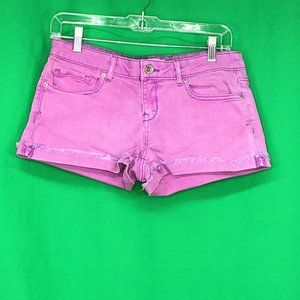 Aeropostale 9 10 Purple Distressed Denim Shorts